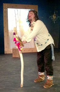 "Photos by Valind Taylor, courtesy of Fairbanks Shakespeare Theatre. Allan Hayton is Shakespeare's King Lear character, in the troupe's Gwich'in-inspired modification of the classic tragedy, titled ""Lear Khehkwaii."" The group will give a workshop for students at Soldotna High School today, and a public performance of the show at 7 p.m. today at the SoHi auditorium."