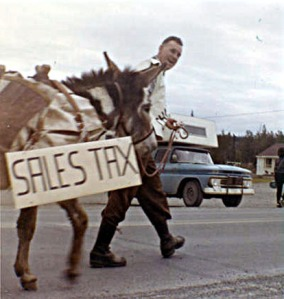 Pomeroy campaigns for his second term of leading the Kenai Peninsula Borough, likely taken in 1966.