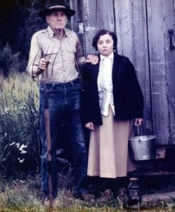 "Roxy and Harold Pomeroy enact their own, Bear Cove version of Grant Wood's famous painting, ""American Gothic,"" in 1975."
