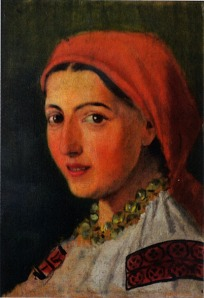 """Portrait of a Girl"" is a 19th-century oil painting by Kornylo Ustyianowycz, a relative of Roxy Skobelsky. It is on display as part of the ""Heirloom Treasures of Roxolana Skobelska Pomeroy"" exhibit in the Ukrainian National Museum in Chicago."