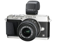 Image courtesy of Olympus. Figure 1 — the new Olympus E-P5 with optional VF-4 viewfinder and 14- to 42-mm kit zoom lens.