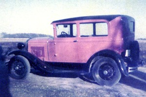 Calvin Fair's Model A in 1953, shortly after it was repainted a pinkish color from its original black.