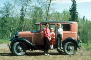 Fair's Model A in 1966 with his wife, Jane and two of their kids.
