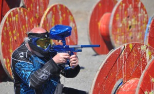One of the owners of the new course, got in on a few matches. He said this is one of the best aspect of paintball — that people of all ages, sizes and experience levels can play at the same time.