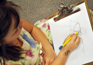 A student in Gayle Buben's class practices some of the principles Steve Buben was teaching.