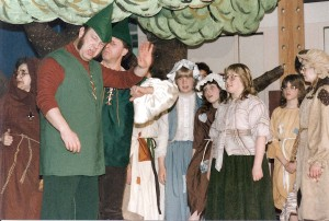 "Anderson appears with Soldotna Elementary School sixth-grade students in a school production of ""Robin Hood."""