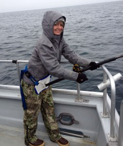 Photo courtesy of Christine Cunningham. Playing chicken with halibut fishing.