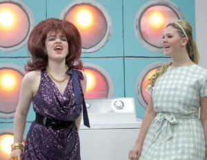 Cindy, played by Alyeska Krull, at right, is counseled by Marge, her bold, brassy guardian angel, played by Selia Butler.