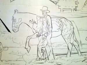 Early sketches of a mural as it has taken shape at Triumvirate North. The mural depicts several themes, including a Native salmon-sharing ceremony, Capt. Cook's exploration, Russian fur traders, homesteading and more modern oil and fishing industries,