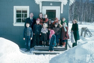 Photo courtesy of the Kenai Peninsula College photo archive.  The Rev Gene Elliott with his Methodist flock in Soldotna in 1952 Rev. Elliott.