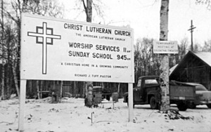 Photo courtesy of the Kenai Peninsula College photo archive. Soldotna Christ Lutheran Church in the early 1960s.