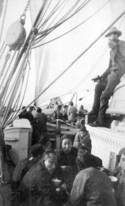 Chinese cannery workers coming north to the Kasilof cannery aboard the Corea.