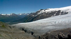 Photos by Jenny Neyman, Redoubt Reporter. Exit Glacier flows down from the ice field to its terminus on land. The glacier is expected to melt more than 20 feet this summer.