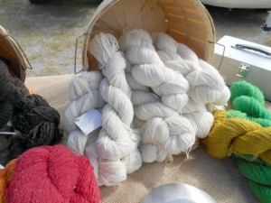 Lancashire Family Farm spun wool for sale at the Soldotna Saturday Market.