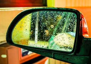 """Rear-View Mirror, McDonald's Drive-Through, at ISO 3200,"" by Joe Kashi."