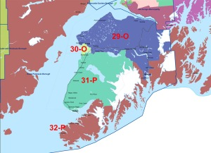 "Graphic courtesy of the Alaska Redistricting Board. The Alaska Redistricting Board approved a new ""Proclamation"" plan Sunday, which redraws voting districts in Alaska. Shown here are the new boundaries for voting districts on the Kenai Peninsula."