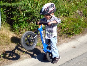 Iver particularly enjoys his version of popping wheelies.