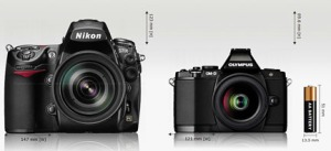 Photos courtesy of camerasize.com. Nikon full-frame D700 digital SLR compared to Olympus Micro Four-thirds OM-D .