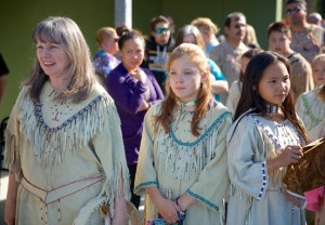Photo courtesy of KPC. Dangers and drummers from the Kenaitze Indian Tribe performed at the opening.