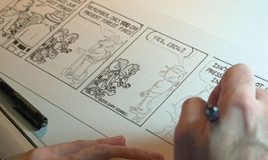 "Hondel outlines a new panel for his comic strip, ""Bearly."""