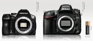 K-30 vs. Nikon D600 top view.