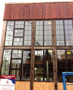 Photo courtesy of Kaladi Brothers Coffee. The Rustic Goat restaurant under construction in Anchorage uses wood fro the Kenai Wards Cove warehouse.