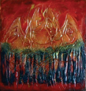 Encaustic work by Marion Nelson is on display at Veronica's Cafe in Kenai.