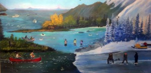 "The finalists in the Paint and Pen the Kenai mural and writing project will be announced Friday during a closing reception at the Kenai Visitors and Cultural Center. Six murals are finalists for selection, including this one, ""All in a Great Weekend,"" by John Winters."