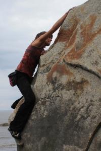 Natalie Larson climbs Crescent Moon.