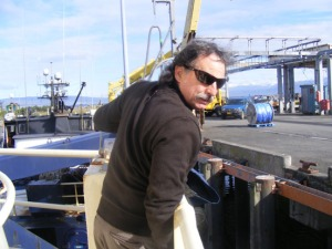Photo by Naomi Klouda, Homer Tribune. Capt. Billy Pepper ending the season on the R/V Tiglax.