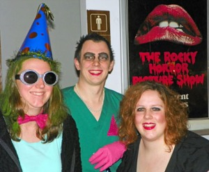 "Photos by Joseph Robertia, Redoubt Reporter. Chris Morgan, Chris Morgan and Amanda Pugh, all of Soldotna, came in costume for the midnight showing of the ""Rocky Horror Picture Show"" at the Orca Theater on Saturday."