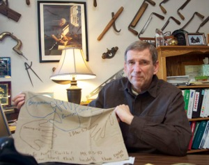 Photo by Jenny Neyman, Redoubt Reporter. Rick Abbott, manager of Spenard Builders Supply in Soldotna, shows a pillowcase given to him by kids in his church, which he took with him to a hospital in Mexico where he sought treatment for cancer.