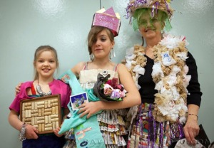 Photos courtesy of David Story. From left, Linnaea Gossard (third place), Clara LaRock (first) and Theresa Norris (second), were the winners of last year's Cooper Landing Recycled Fashion Show. The second annual event is coming up Saturday at the Cooper Landing Community Club.