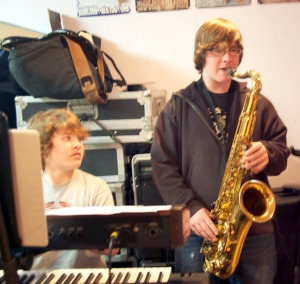 Austin Eriksson, keyboard, and Anton Eriksson, sax.