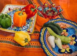 "Second place — ""Peppers, Platters and Patterns"" by Gwen Thomas"