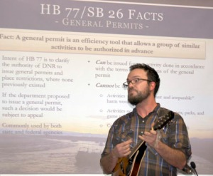 Dan Pascucci, environmental education specialist for the Kenai Watershed Forum, expresses his views on the bill in tongue-in-cheek song.