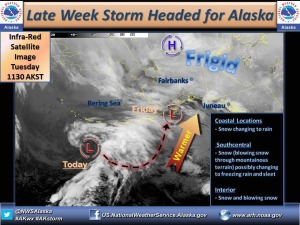 Image from the National Weather Service Alaska Facebook Page, showing a forecast graphic of an approaching storm, posed Nov. 19. It's now more easy than ever to get detailed, current weather and travel condition information in Alaska, with the NWSA, Alaska Department of Transportation and Public Facilities and other agencies participating in social media.