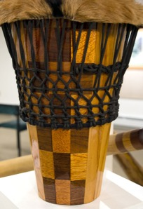 This ashiko drum by Gale is made of oak, walnut and mahogany.