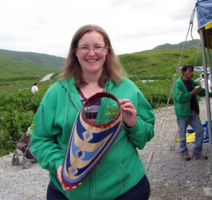 Photo courtesy of the Alaska Humanities Forum. Debora Roberts, a teacher from Lake Hood Elementary in Anchorage, holds up a bentwood hat she made while visiting the Qunqaayux Culture Camp in Unalaska last year. She was there as part of an Educator Cross-Cultural Immersion program being offered by the Alaska Humanities Forum and currently seeking applicants from the Kenai-Soldotna area for 2014.