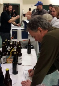 Steve Ford, of Kenai, enters his and Chris Arbelovsky's Russian imperial stout in the homebrew competition.