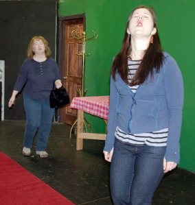 """Ann Flynn, right, is Corrie, daughter of Ethel, played by Terri Burdick, left, in Neil Simon's """"Barefoot in the Park,"""" to be performed Feb. 28 and March 1 in Soldotna."""