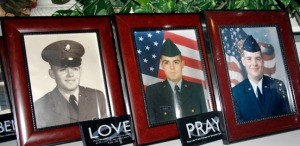 The Bearup family's military photos were on display. At left is Tom. At right is James.