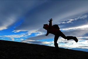 Photos courtesy of Clark Fair. Yvonne Leutwyler faces a headwind while hiking near Dillingham.
