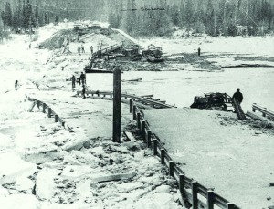 Photo courtesy of Alaska Department of Transportation. Ice and debris swamp the remains of the Kenai River bridge at Kenai Lake in Cooper Landing.