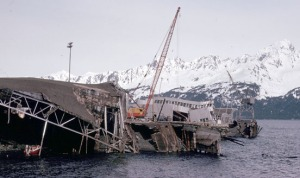 Photo courtesy of Kenai Peninsula College Photo Archive. Seward suffered serious damage in the 1964 Good Friday quake, particularly along the waterfront.