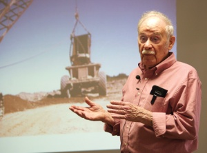 Photo by Jenny Neyman, Redoubt Reporter. Al Hershberger shares stories and photos from his 65 years on the Kenai Peninsula in a presentation Friday at the George A. Navarre Borough Building.