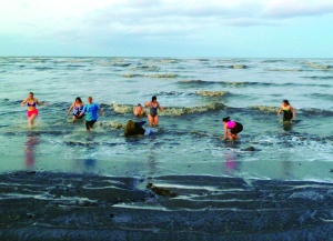 Volunteers for Central Peninsula Relay for Life take a dip in Cook Inlet at sunrise Saturday to raise awareness for the annual fundraising drive to support the American Cancer Society.