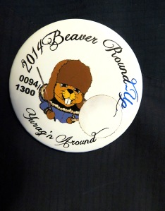 The Beaver Roundup button is a collector's item from each year's festival.