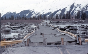 Photo courtesy of Kenai Peninsula College Photo Archive. The 1964 Good Friday earthquake destroyed this bridge over Twenty-Mile River on the Seward Highway along Turnagain Arm. This is only one of the crossings Larry Lancashire had to make to bring his new horses home.