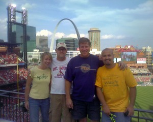 Photo courtesy of Justin Franchino. Justin Franchino, right, at a baseball game at Busch Stadium in St. Louis in 2006. He plans to visit all 30 Major League Baseball parks this summer. He'll keep a running blog of his adventure at justinfranchino.tumblr.com.